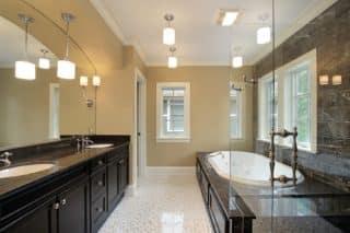 Master bath with black tub area
